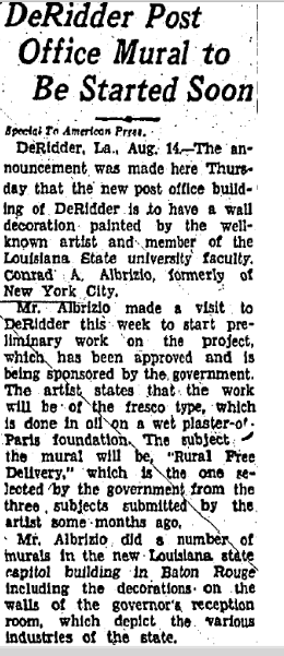 An old newspaper article outlining the mural's commission.