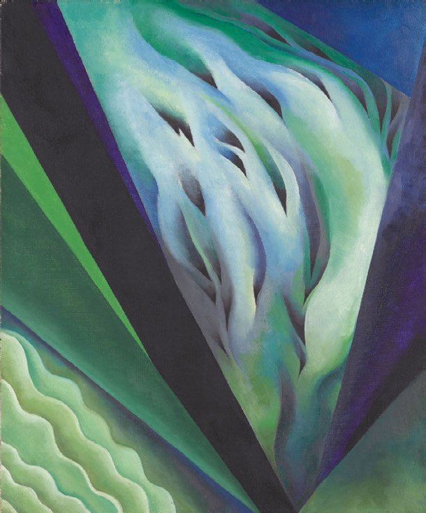"O'Keeffe painted not only physical objects, but also thoughts, feelings, and music, as depicted in this painting, ""Blue and Green Music."" Wikimedia commons."