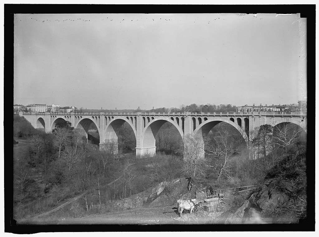 Completed in 1907, the Taft Bridge replaced a smaller and less attractive iron truss bridge. Photo by Harris and Ewing, Library of Congress.