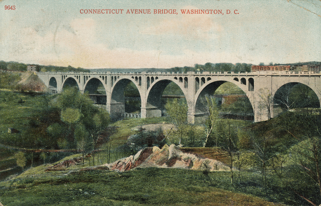Though in the middle of a city, the Taft Bridge provides a view of Rock Creek Park's natural beauty. Postcard courtesy of Streets of Washington.