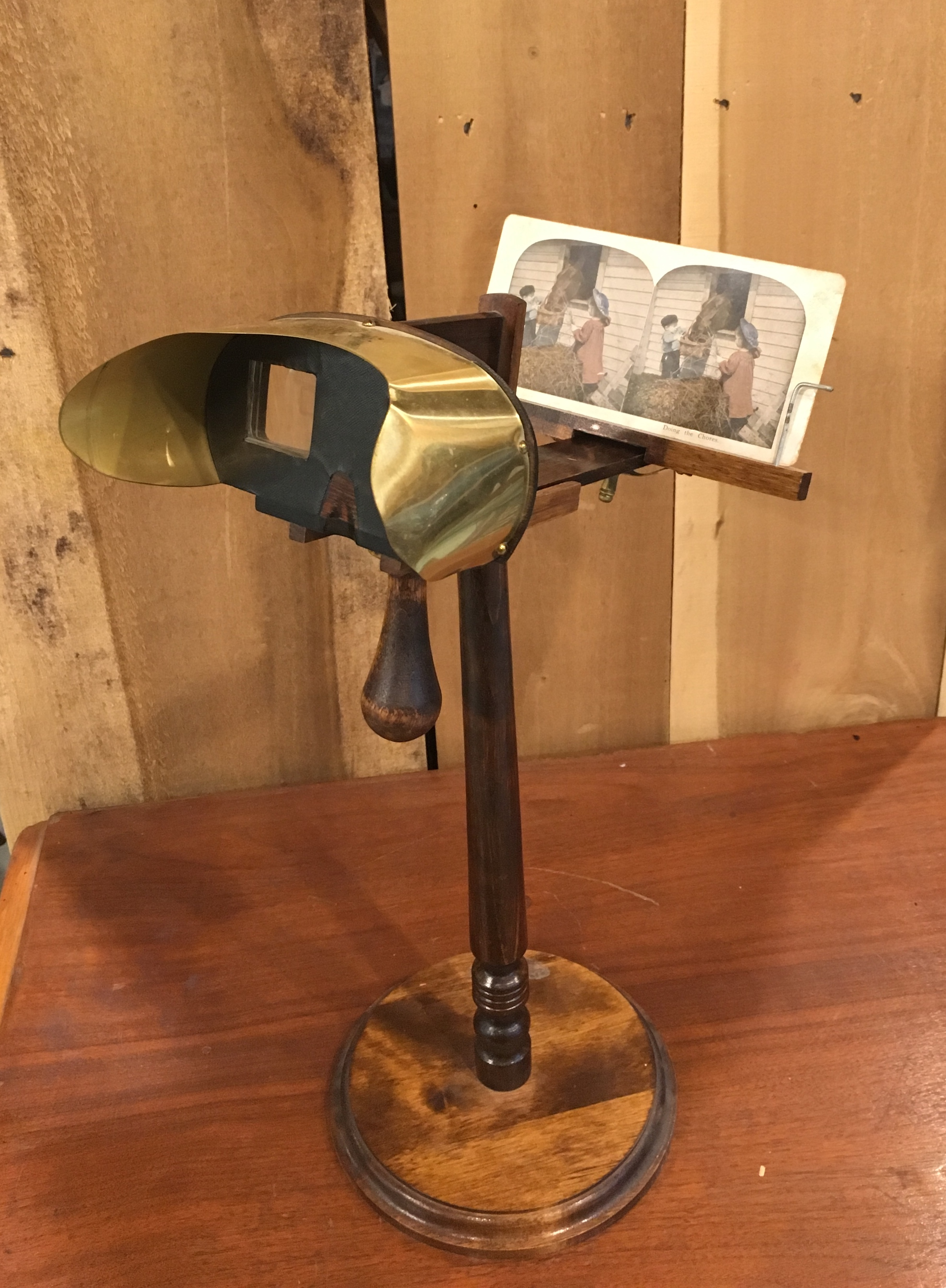 The stereoscope was a popular toy in the early 1900s. This precursor to the View-Master blended two identical pictures together to create a 3-D image.