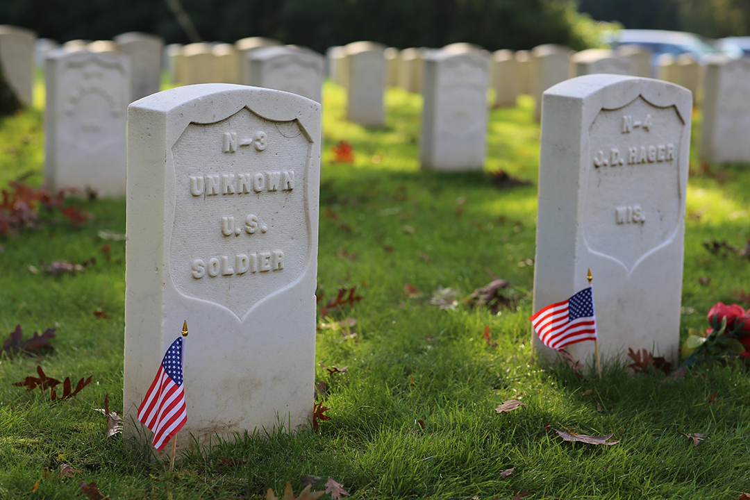 Graves of an unknown United States solider and J.D. Hager, buried at Union Rest. Forest Hill Cemetery, Madison, Wisconsin.