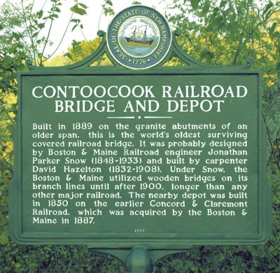 The historical marker for the Contoocook Depot and Covered Railroad Bridge.