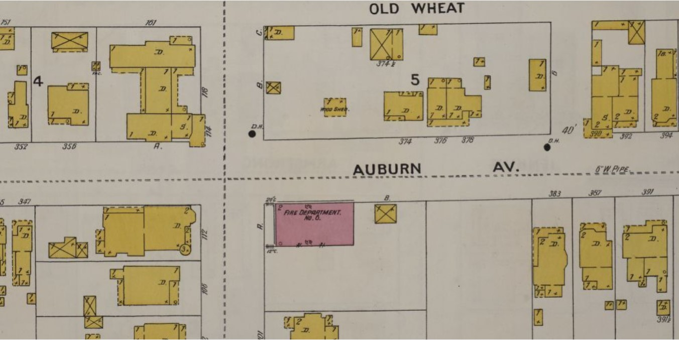 1899 Sanborn Fire Insurance Map showing Fire Station No. 6 (brick, red) surrounded by wood frame (yellow) buildings (p. 45)