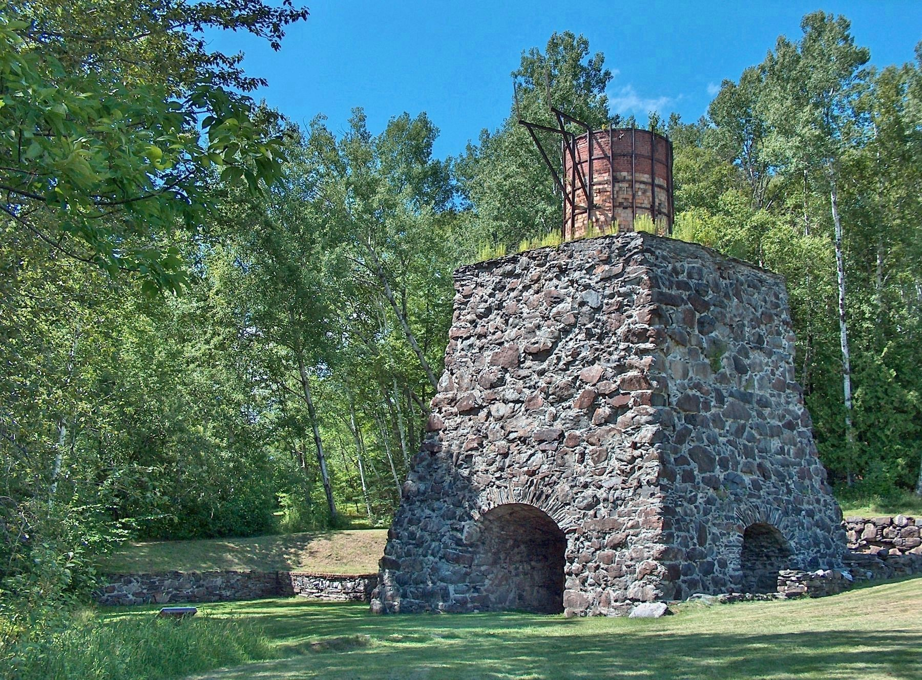All that remains of Katahdin Iron Works today is the skeletons of a blast furnace and charcoal kiln
