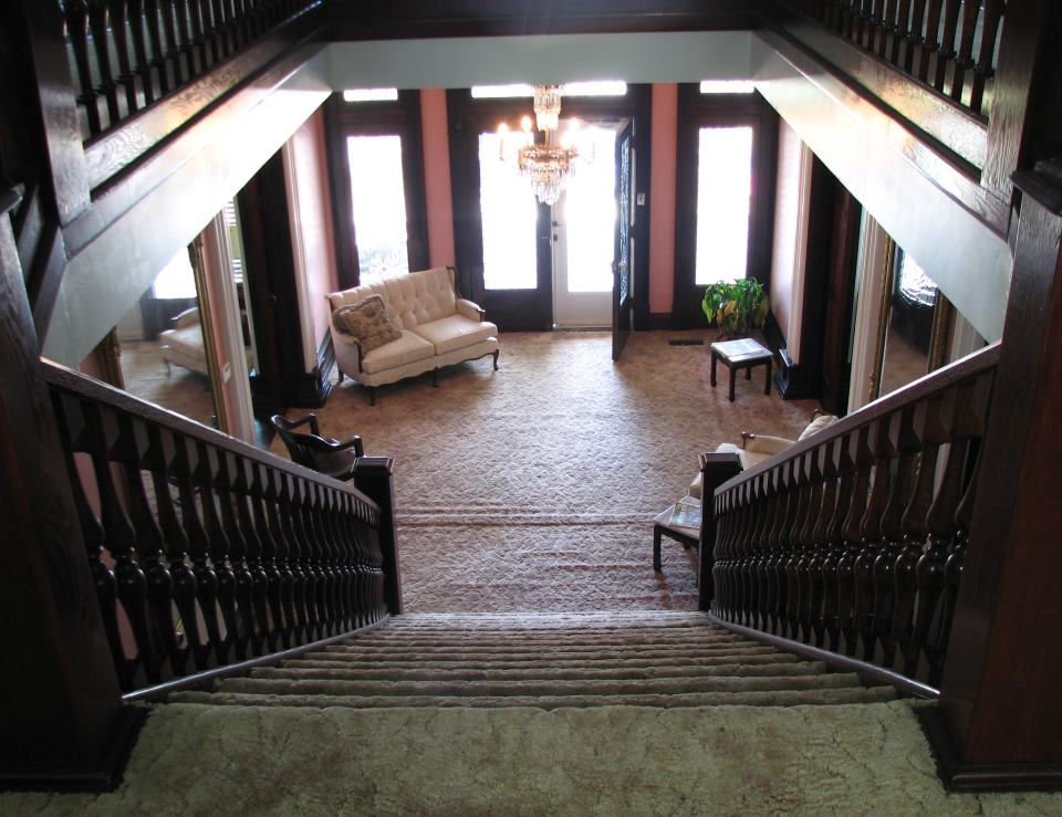 View from the top of the stairwell of the W. Scott Stuart house that was one of the first houses in West Union that reflects the Queen Anne style of architecture.