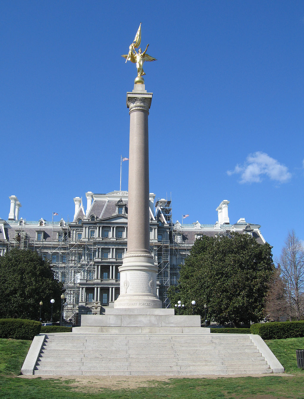 The Eisenhower Executive Office Building housed the Departments of State, War, and the Navy when the First Division Monument was built. Photo by Leonard J. DeFrancisci, Wikimedia.
