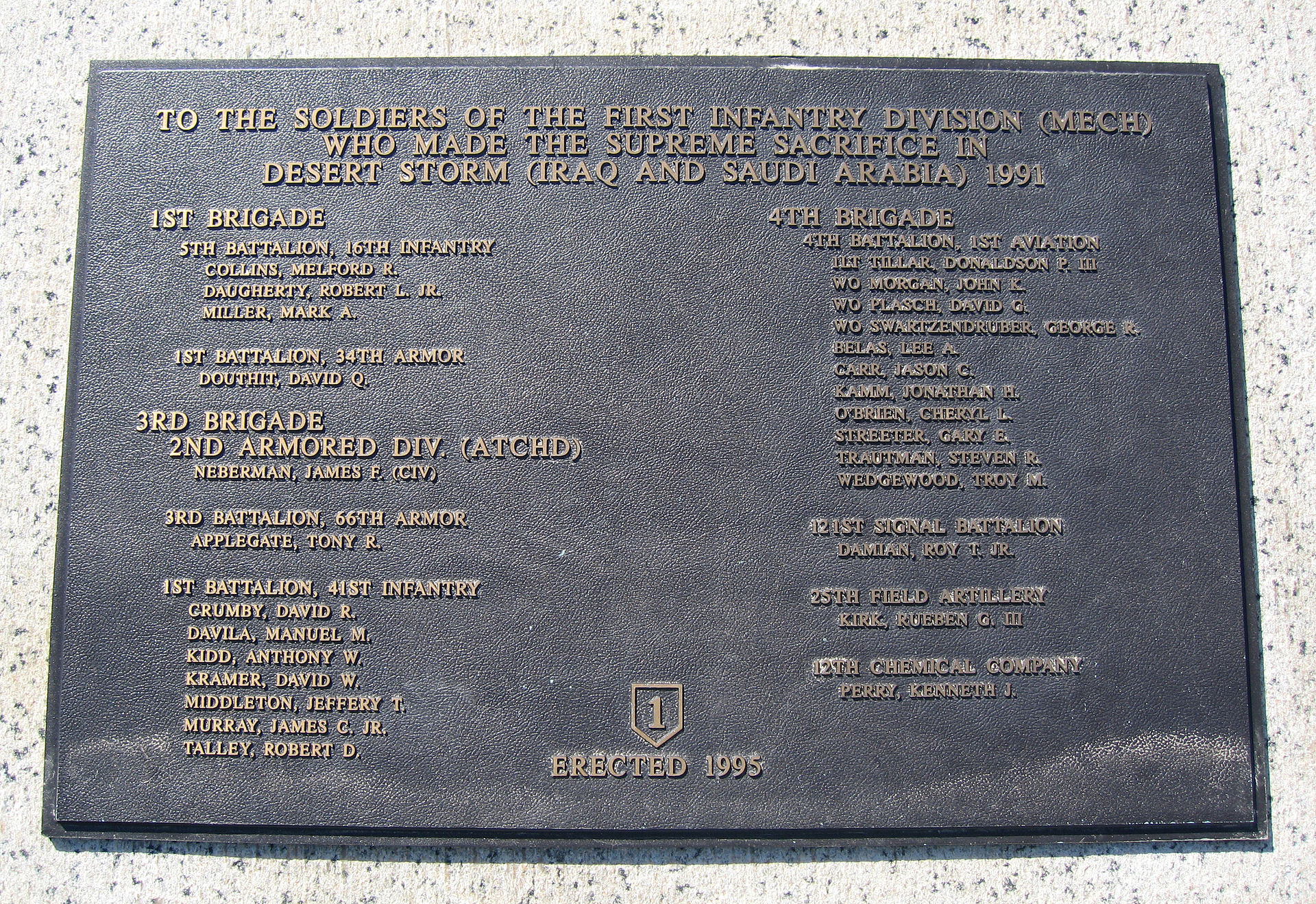 Plaque honoring First Division members who died in Desert Storm. Photo by Leonard J. DeFrancisci, Wikimedia.