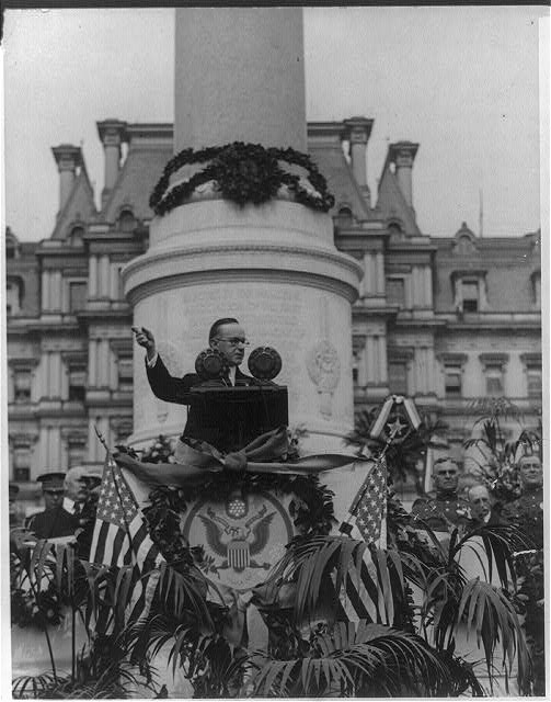 President Calvin Coolidge addresses the crowds at the First Division Monument's dedication on October 4, 1924. Courtesy of the Library of Congress.