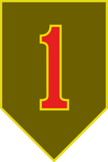 The First Infantry Division's modern combat service identification badge. Courtesy of United States Army Institute of Heraldry.
