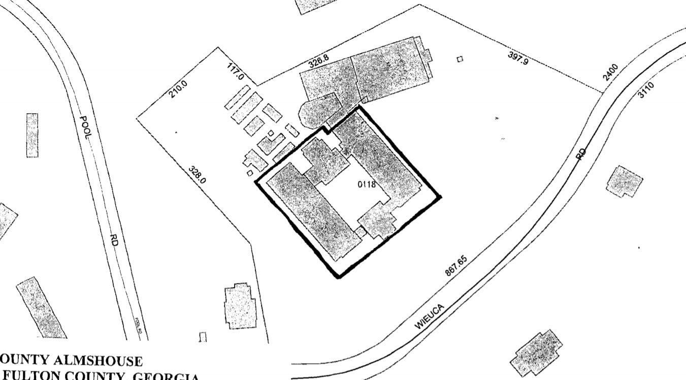 Outline of footprint of Fulton Co. Almshouse bldg. from NRHP nomination (Messick 2013)
