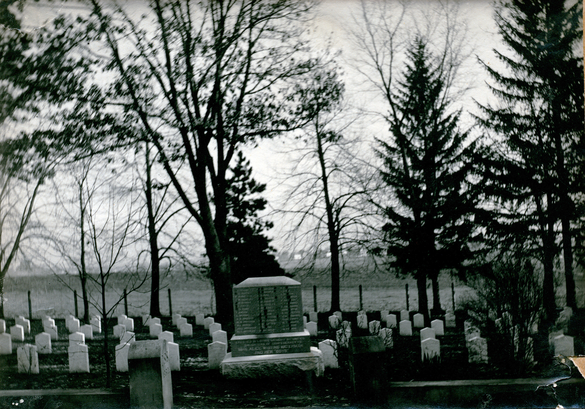 Cabinet card photograph, taken 1896, of the Confederate Rest in Madison, Wisconsin. The photograph features the section of graves at Forest Hill Cemetery in Madison, Wisconsin, reserved for the 136 Confederate soldiers who are buried there, and Alice Whiting Waterman.