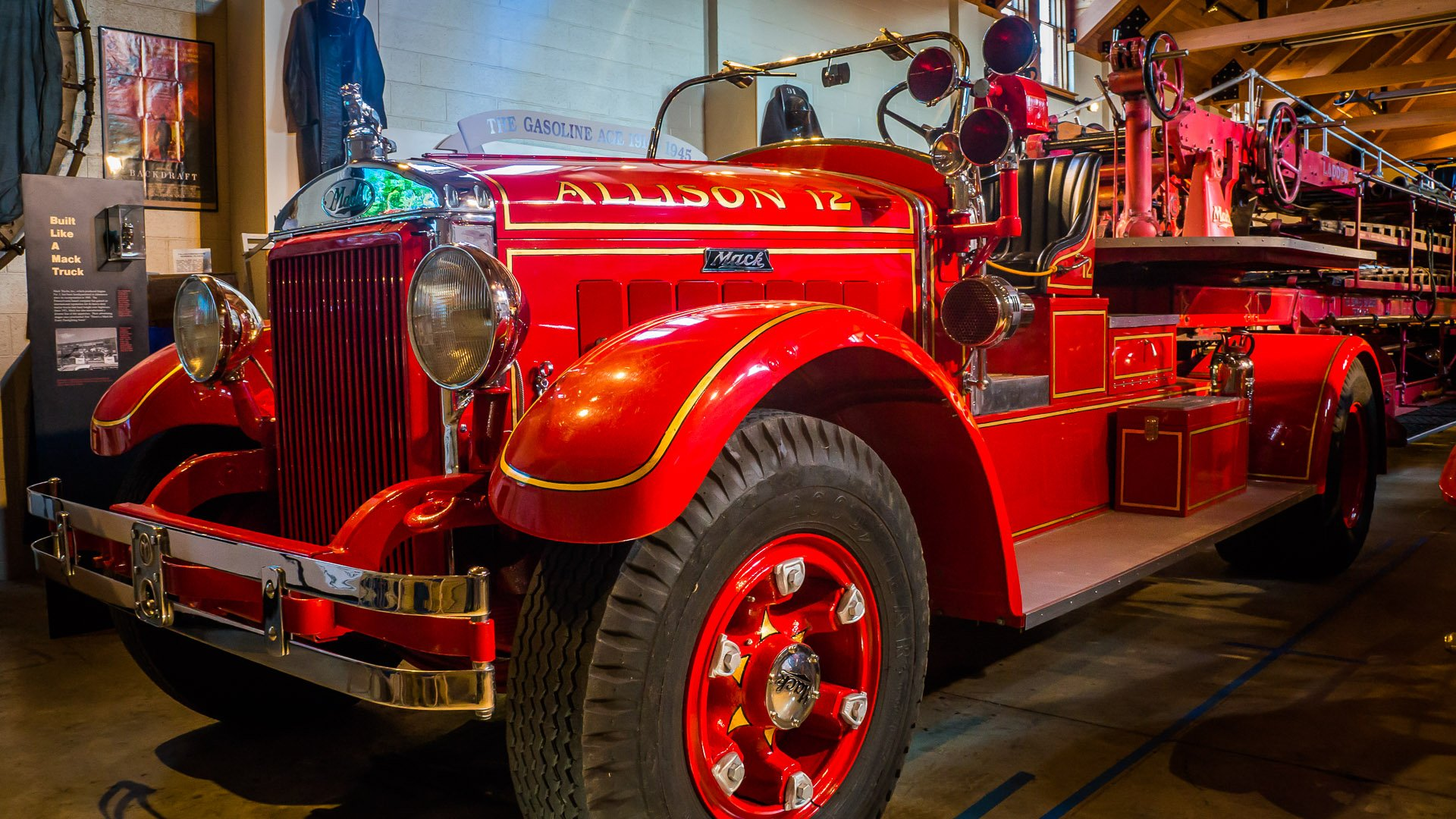 This 1935 ladder truck has been restored to its original condition.