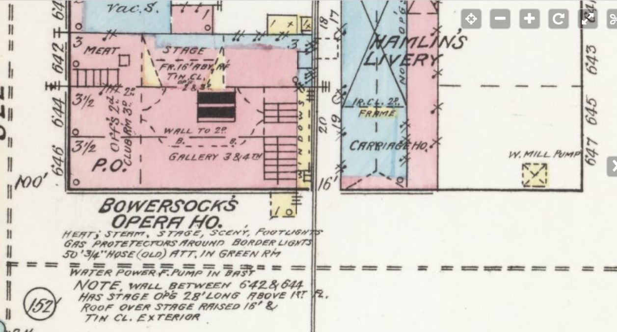 """""""Bowersock's Opera House"""" at corner Massachusetts and """"Winthrop"""" Streets in 1889 (Sanborn Map Company p. 3)"""
