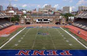 View of the inside of Franklin Field. Portrayed is the field house, and the two tier type seating.  Digital Image. http://boards.sportslogos.net/topic/96506-all-purpose-stadium-thread/?page=13. 12-7-2017. Web. 1-10-2014.