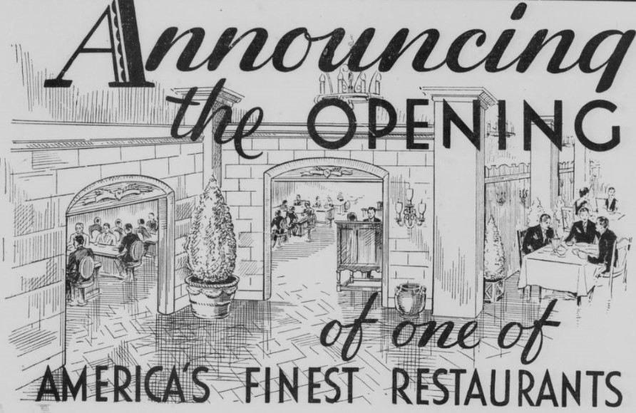 Sketch of new restaurant, Neal's Guaranty, grand opening newspaper ad 1933 (Indianapolis Times)