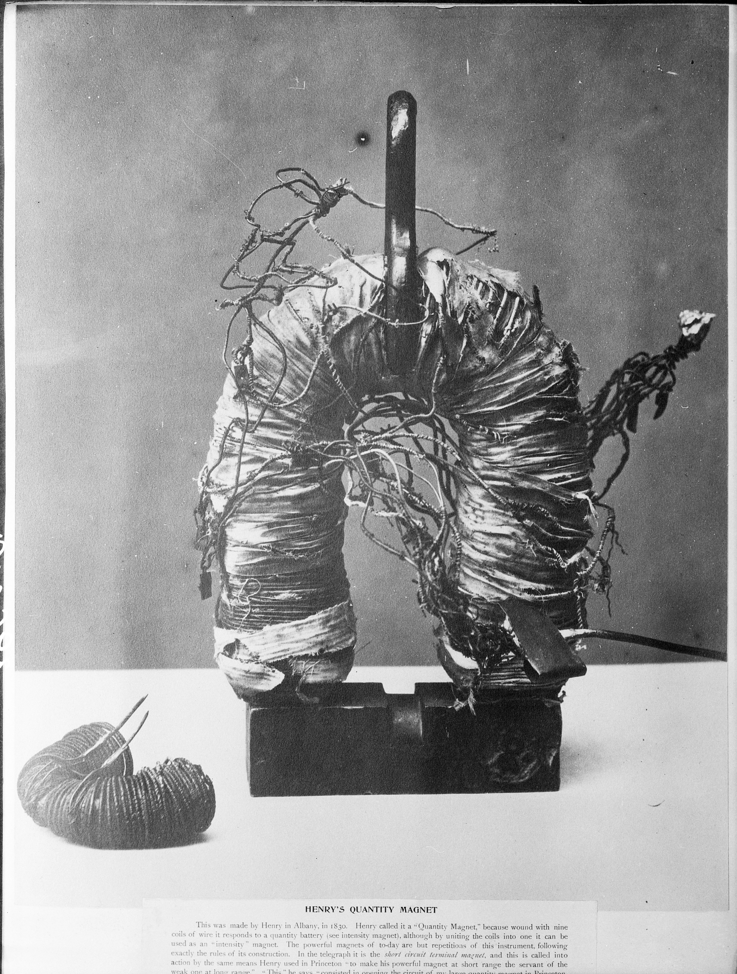 Joseph Henry's electromagnet, created by wrapping an iron bar in insulating conductive wire. Courtesy of the Smithsonian Institution Archives.