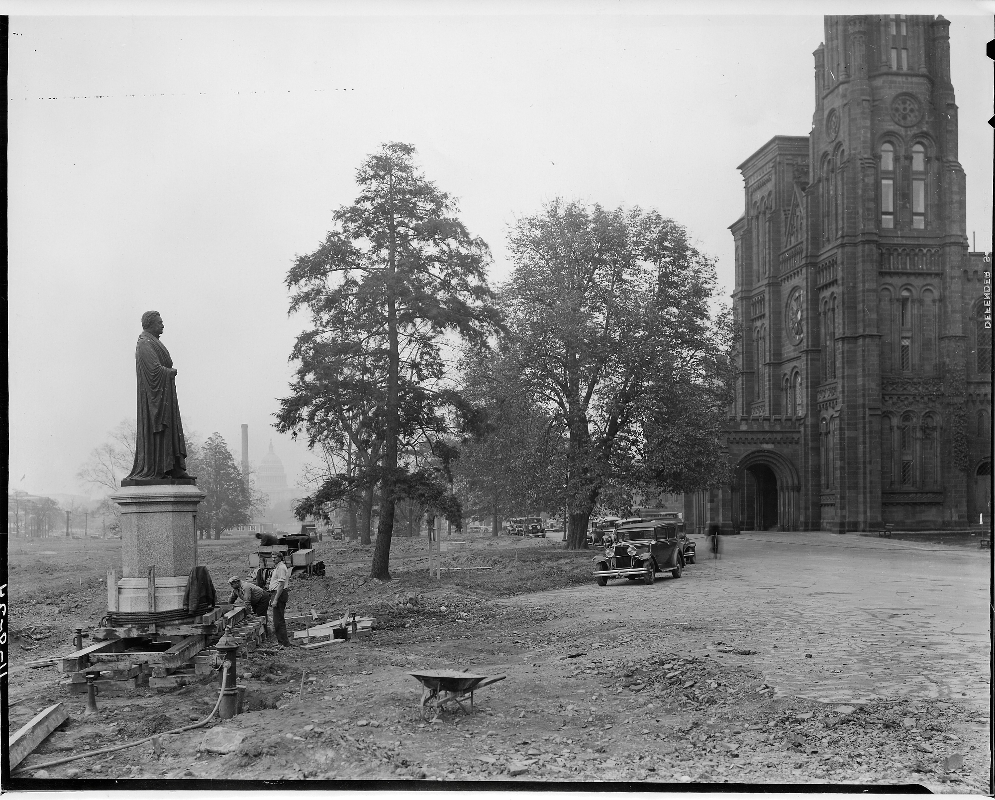 The Joseph Henry statue looks toward the Castle, the place Henry worked and called home until the end of his life. Courtesy of the Smithsonian Institution Archives.
