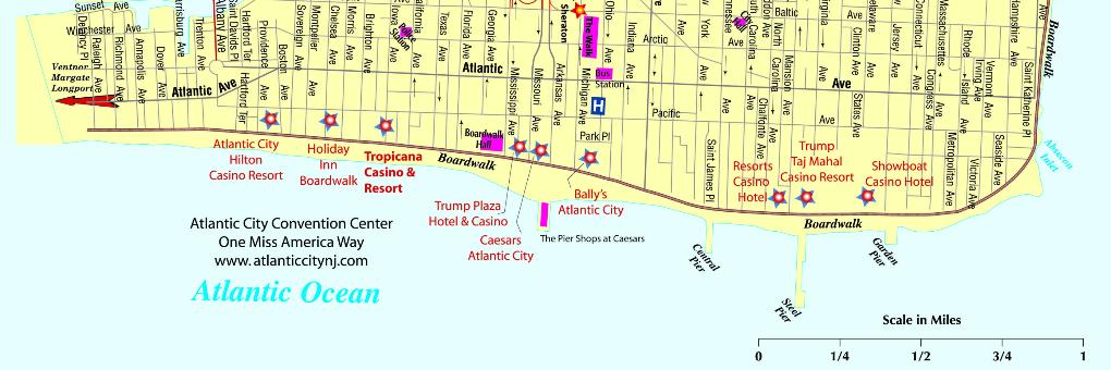 Map of the Atlantic City Boardwalk.