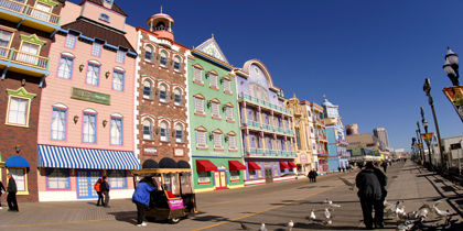 Colorful structures are found up and down the boardwalk.