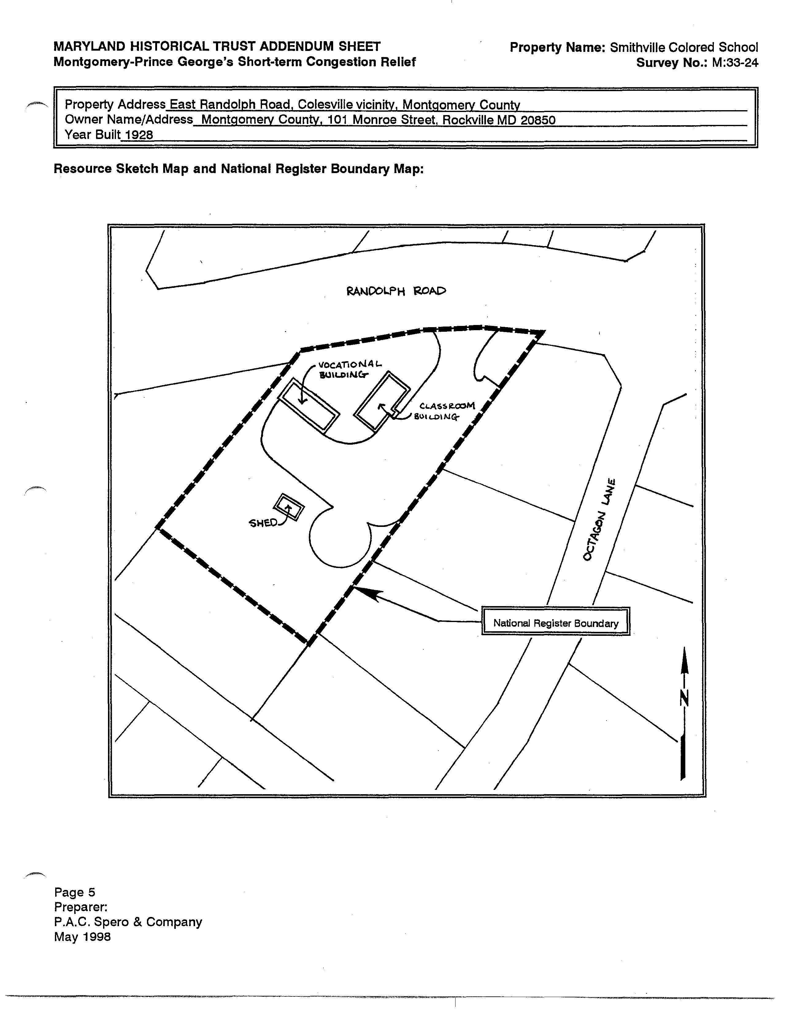 Over few map of Smithville Colored School to help show the location of the school