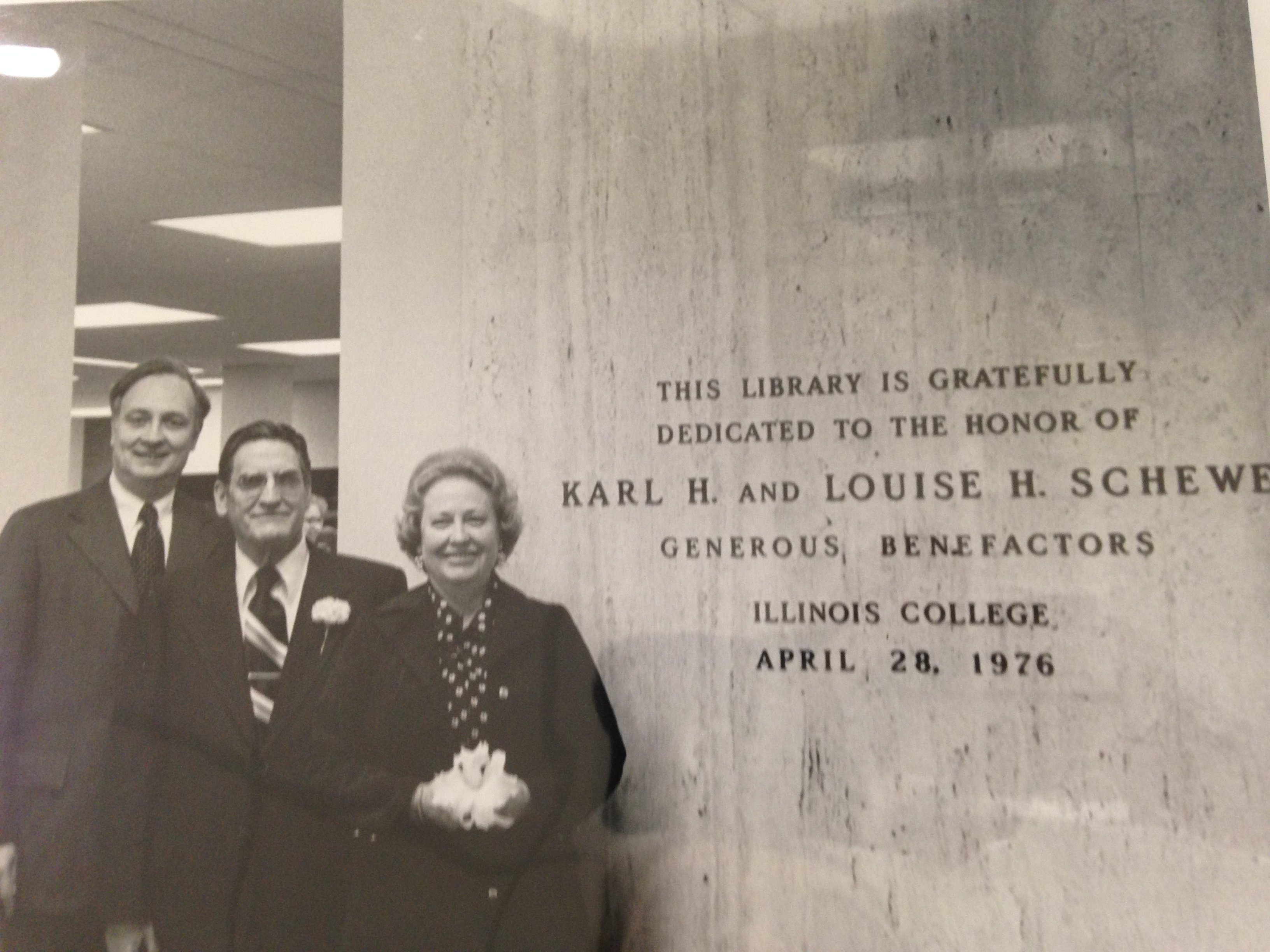 This picture shows President Sturtevant, Karl and Louise H. Schewe on the dedication day of the Schewe Library.