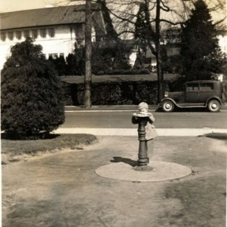 This is an image of a young boy drinking from the first water fountain in Kerry park in 1944. It showcases the old houses and cars in the background and acts as a time machine to what Kerry park used to look like.