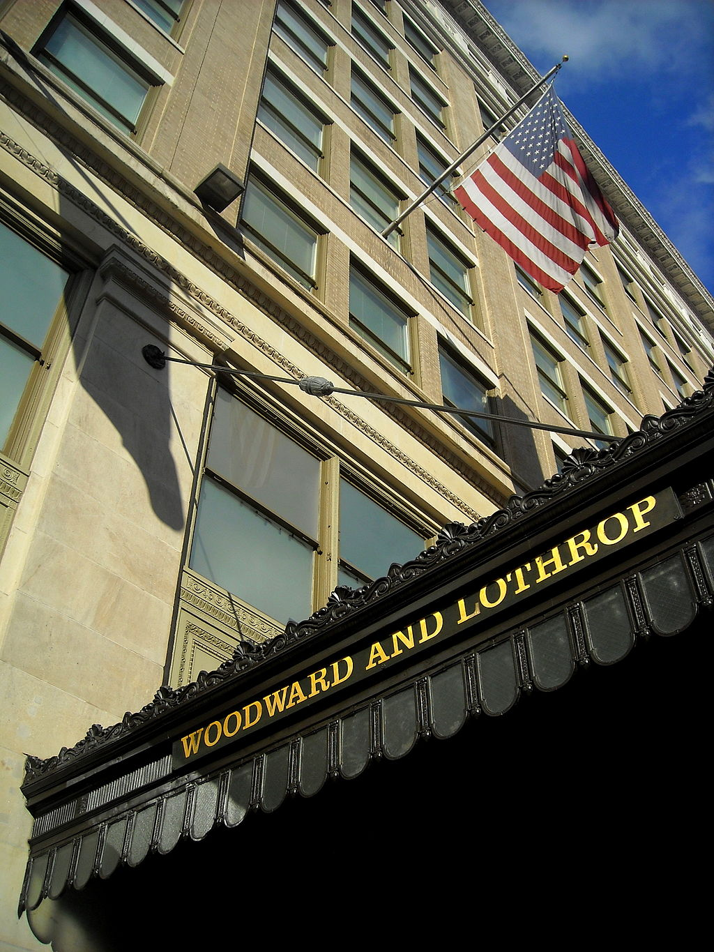 The Woodward & Lothrop Building retains some of its historic character, including awnings that bear its name. Photo courtesy of Wikimedia Commons.