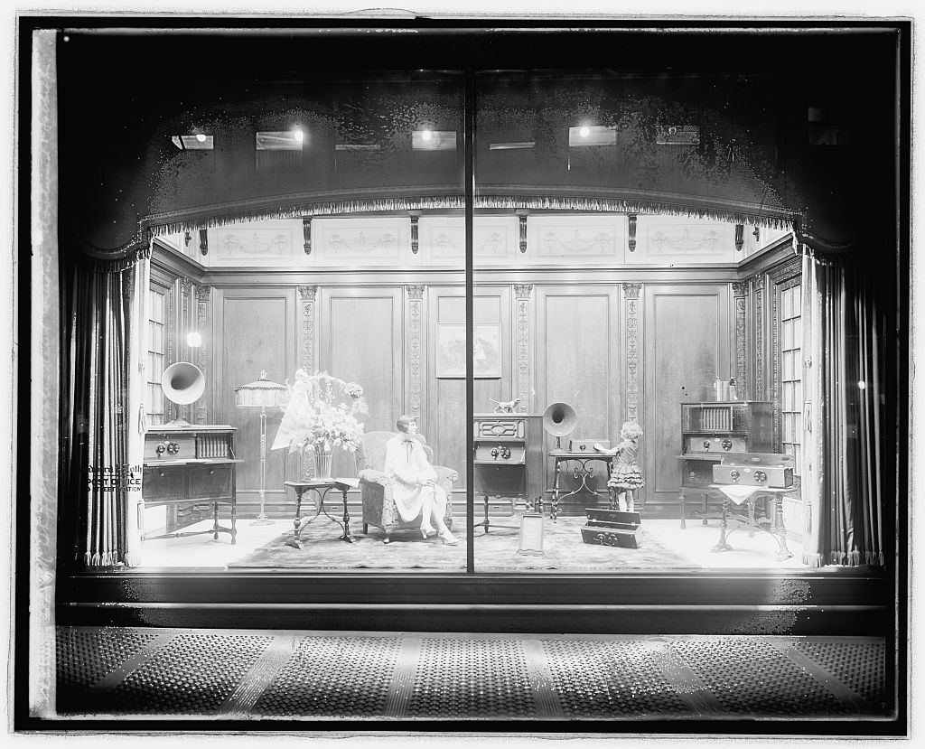 An elaborate window display at Woodies advertising a radio company. Photo circa 1918-1928, courtesy of the Library of Congress.