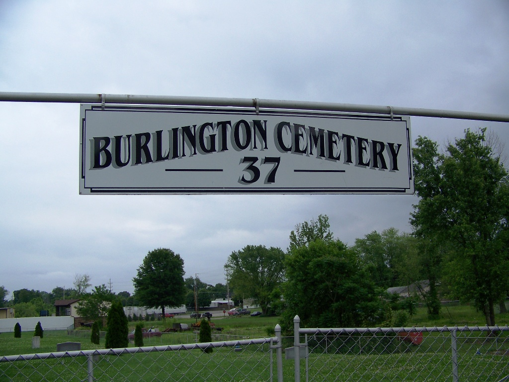 The cemetery entrance sign.