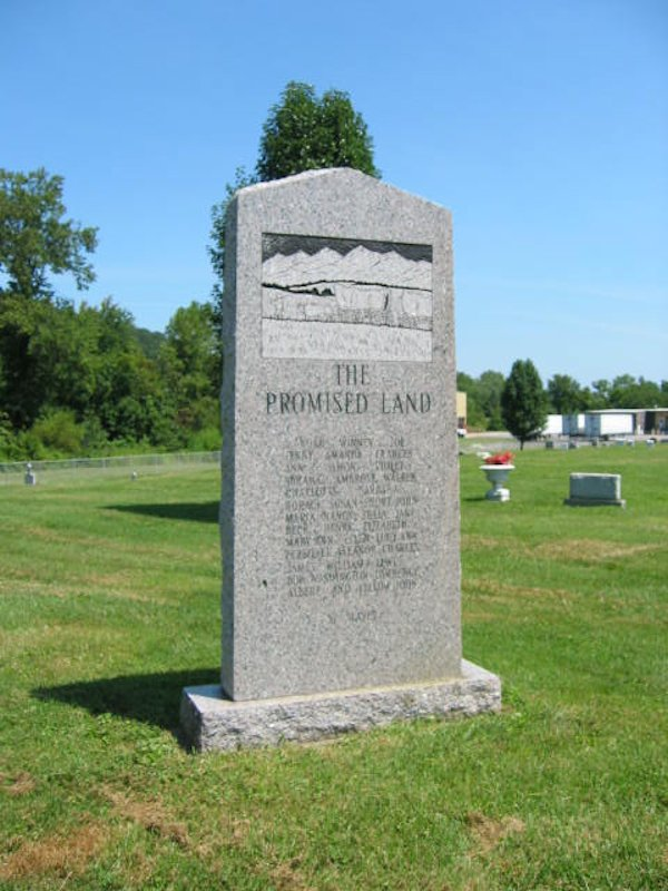The Promise Land monument located inside the cemetery.