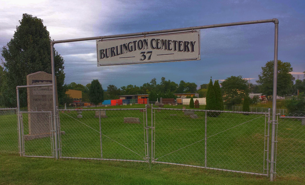 Another photo of the Burlington Cemetry sign.