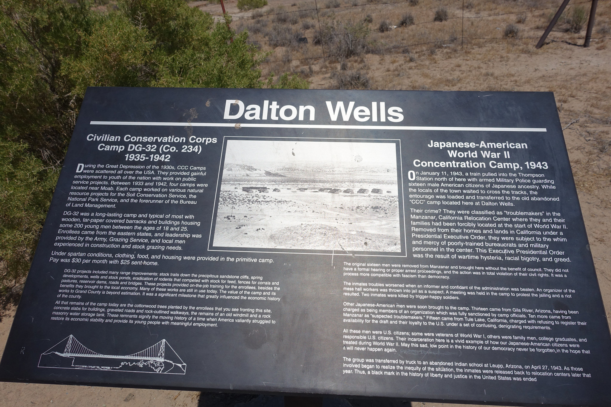 Plaque at Dalton Wells site
