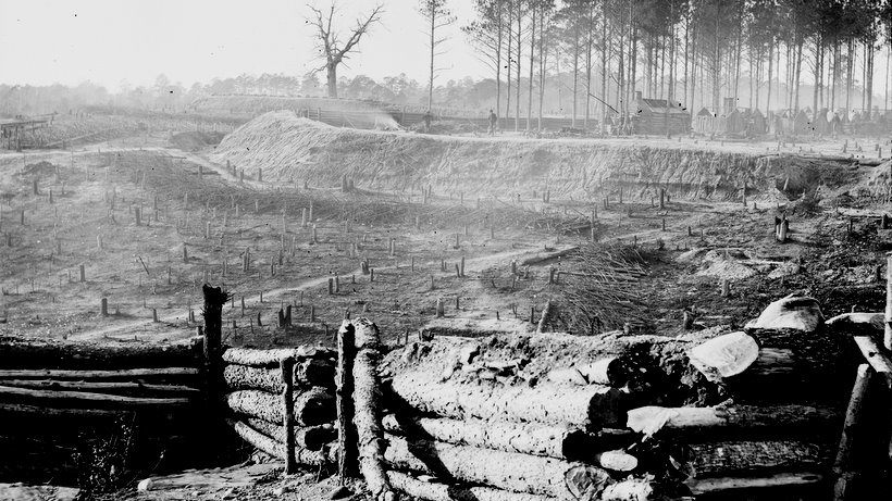 1864 photograph of the Confederate trenches