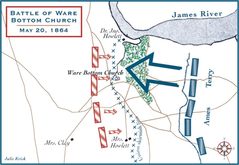 A map depicting the movements during the battle