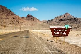 The Bonneville Salt Flats formed after the Ancient Bonneville Lake dried up, after the last Ice Age. The salt and other minerals were left behind, and created a 5 feet thick salt crust in the center.