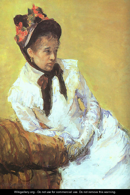 This is one of only two known self-portraits of Mary Cassatt. The painting depicts Cassatt in a casual pose and uses contrasting complementary colors.
