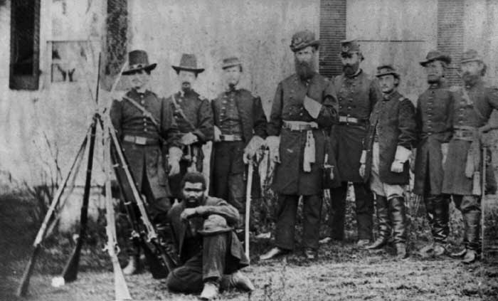 A group of Civil War soldiers gathers at Bolivar Heights.