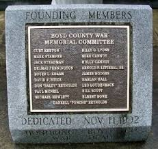 The Boyd County War Memorial Committee responsible for the monument's erection in 1992.