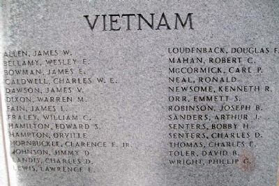 The list of Boyd County veterans who gave their life in the Vietnam War.