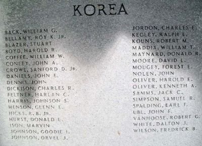 The list of Boyd County veterans who gave their life in the Korean War.