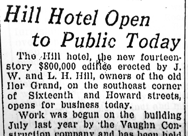 Newspaper clipping from the Omaha World Herald on the opening day of the Hill Hotel.