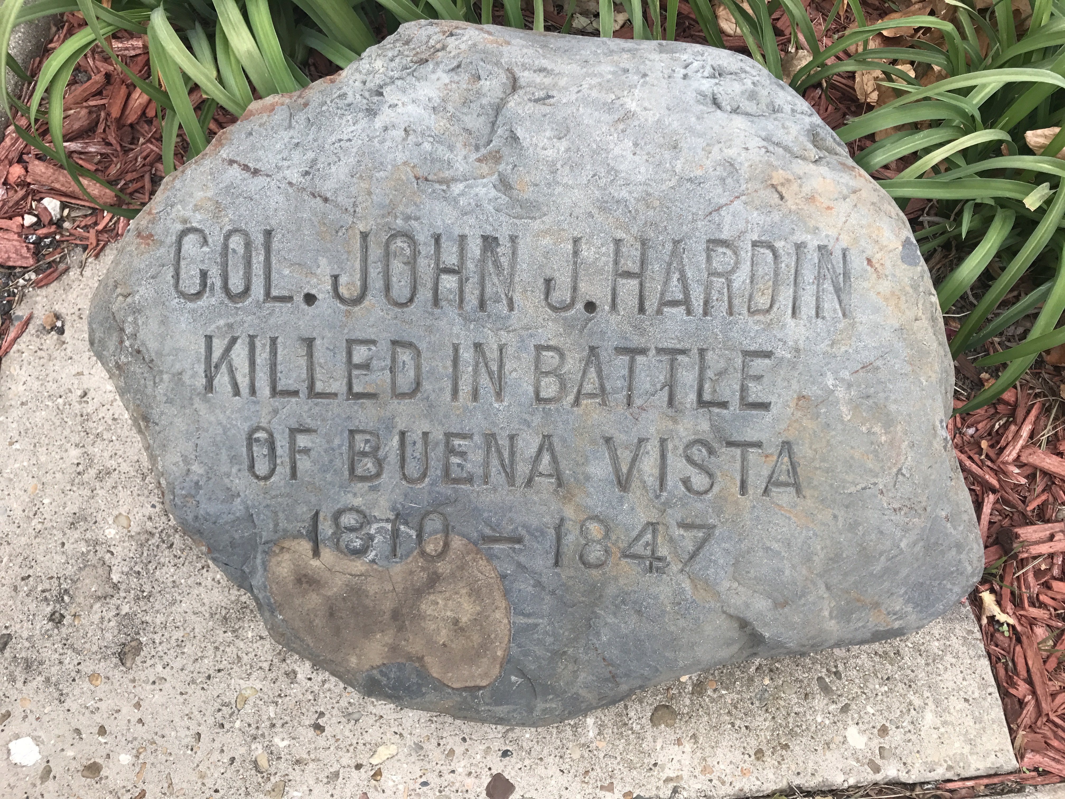 This is the stone marker that is at the site.