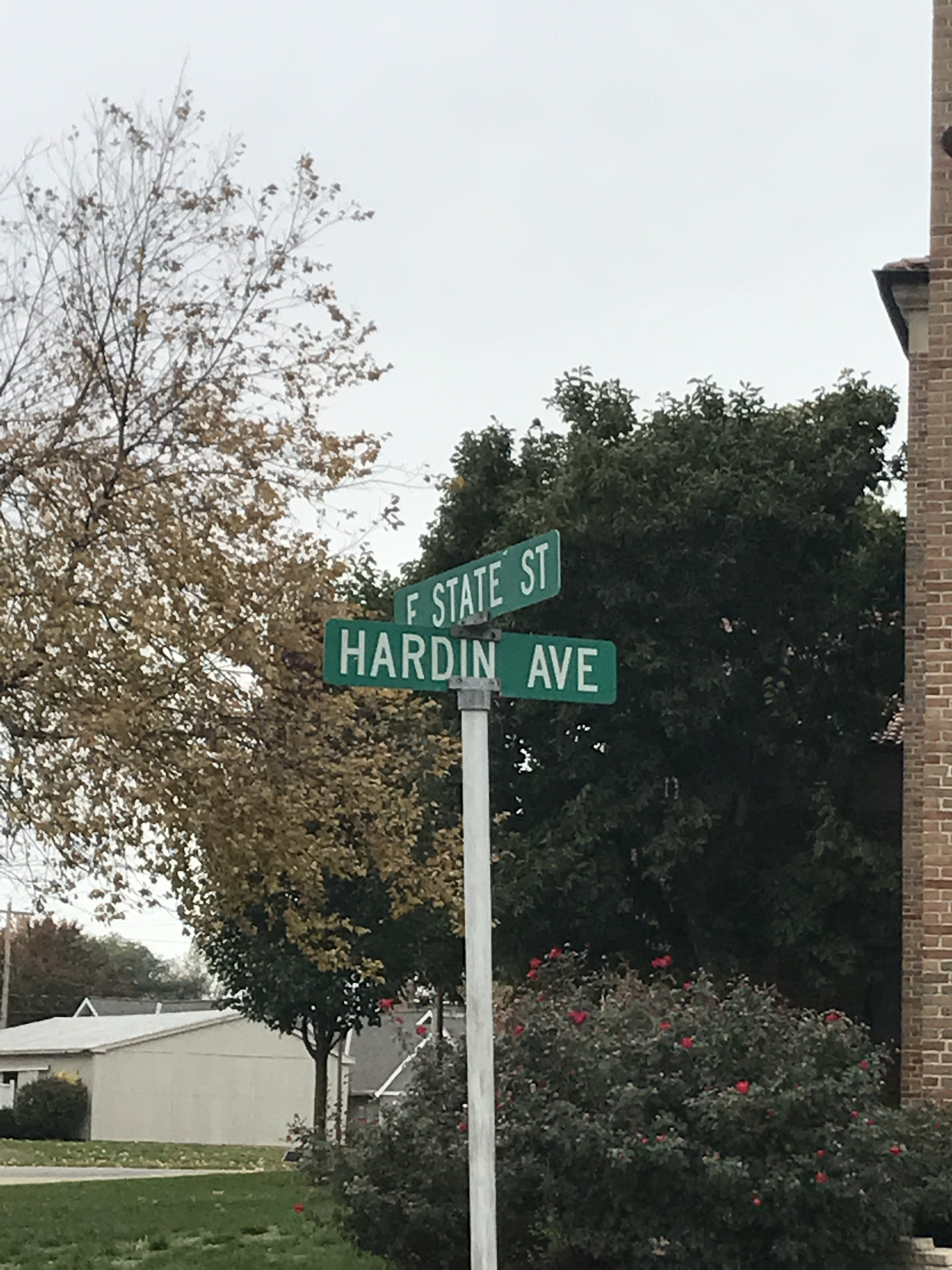 The site is right beside this intersection, we have Hardin Avenue after John J. Hardin.