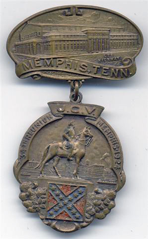 Badge given to and worn by Confederate Veterans who attended the 1924 convention held at the Memphis Auditorium.