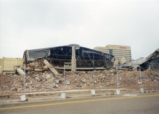 Photo depicting the demolition of Ellis Auditorium in 1999. The newly cleared lot would later serve as the home of the Cannon Center for Performing Arts.