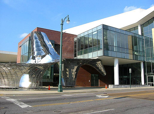 The Cannon Center for Performing Arts, complete with chrome statue designed by Vito Acconci, now stands where the Ellis Auditorium used to.
