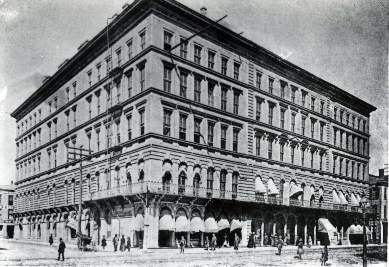 The Overton Hotel, which once served as a hospital for the Confederate and later the Union side of the Civil War. It was constructed on the corner of Poplar and First Street in 1860.