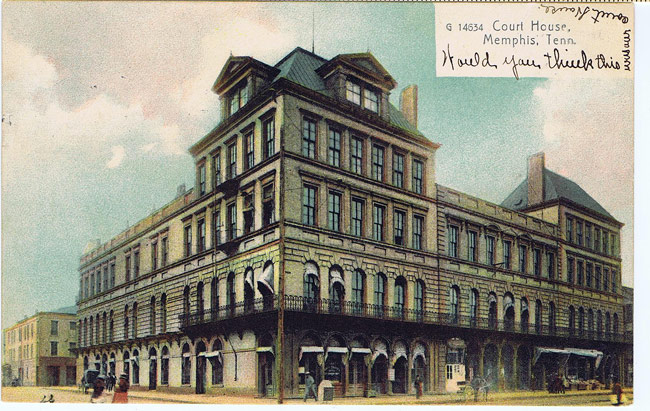 Postcard depicting the Shelby County courthouse, which briefly occupied 255 N Main St between the spaces of time of the Overton Hotel and Ellis Auditorium.