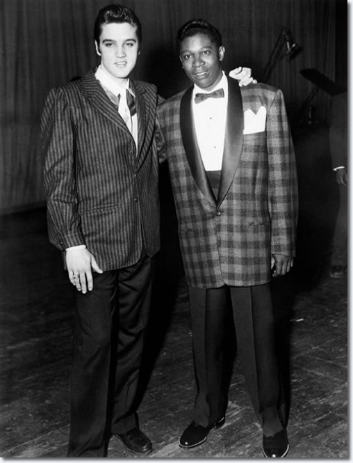 Elvis Presley and B.B. King backstage during a 1956 charity event hosted by WDIA for the Keel Avenue School for Handicapped Black.